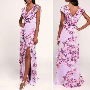 Lulus • Sammi Lavender Floral Ruffled Maxi Dress